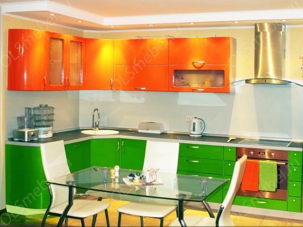 кухня эмаль оранж/зеленый