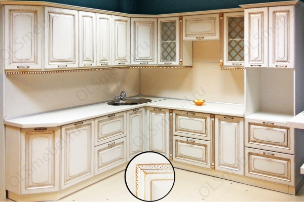 кухня МДФ с патиной Тиара №62 ясень белый, патина золото