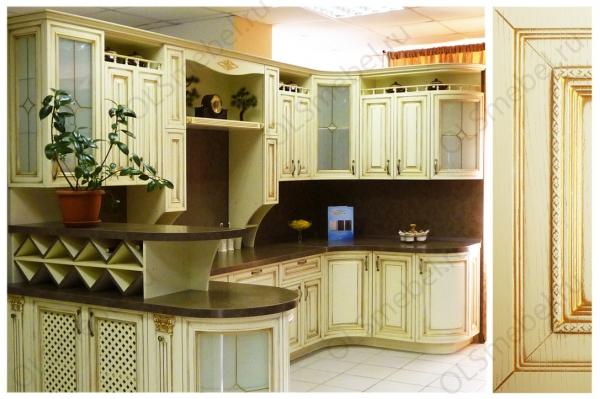 кухня МДФ с патиной Тиара №70 цв. Валио, патина золото