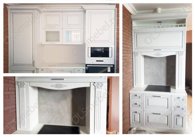 кухня мдф с патиной Тиара №70 цв. ясень белый, серебро