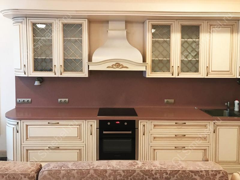кухня с патинированными фасадами Тиара с золотой патиной, модель №70