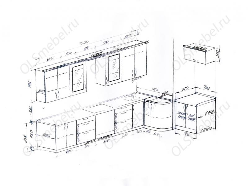 Кухня 3200/1100 справа закругление + отдельно 700мм