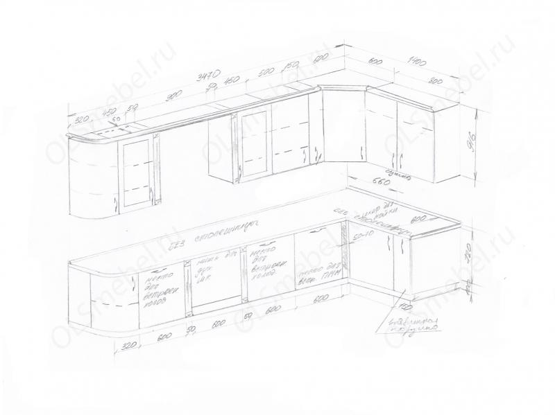 Кухня 3470/1400 с закруглённым краем