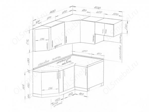 Кухня 1400/1500мм малогабаритная со скосом