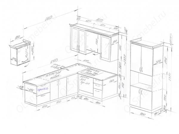 кухня 2950/1650мм + буфет 900мм, проект под окно