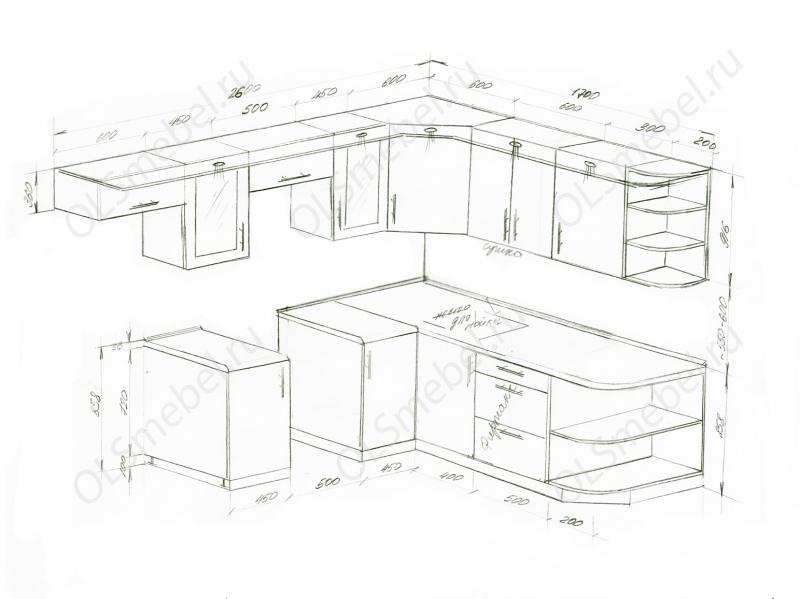 Кухня 2600/1700 с открытыми полками справа