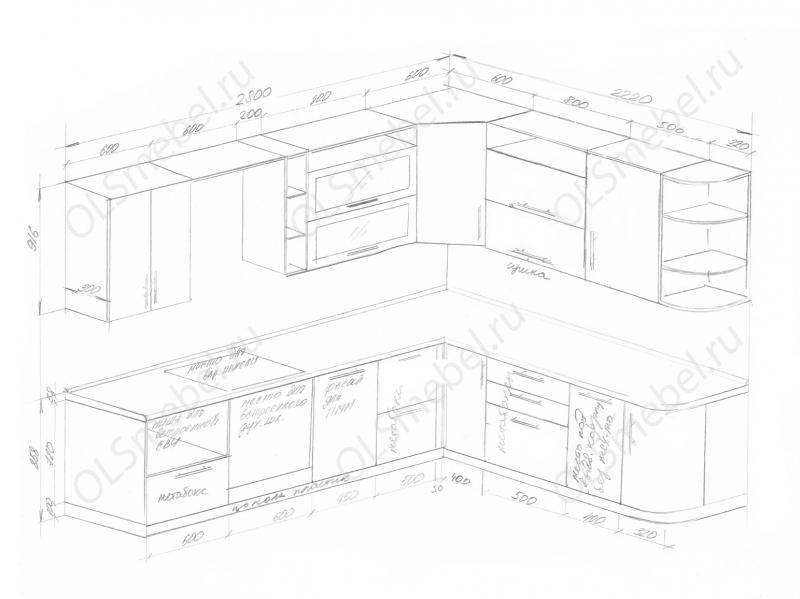 Кухня 2800/2200мм с гнутыми фасадами справа