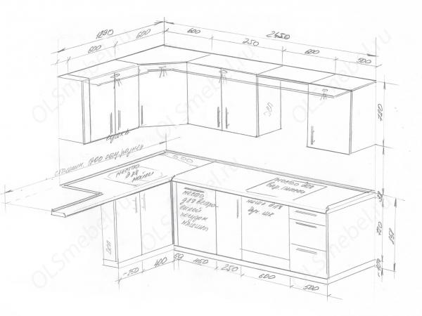 Кухня 1290/2450 с вентиляционным коробом (воздуховодом)