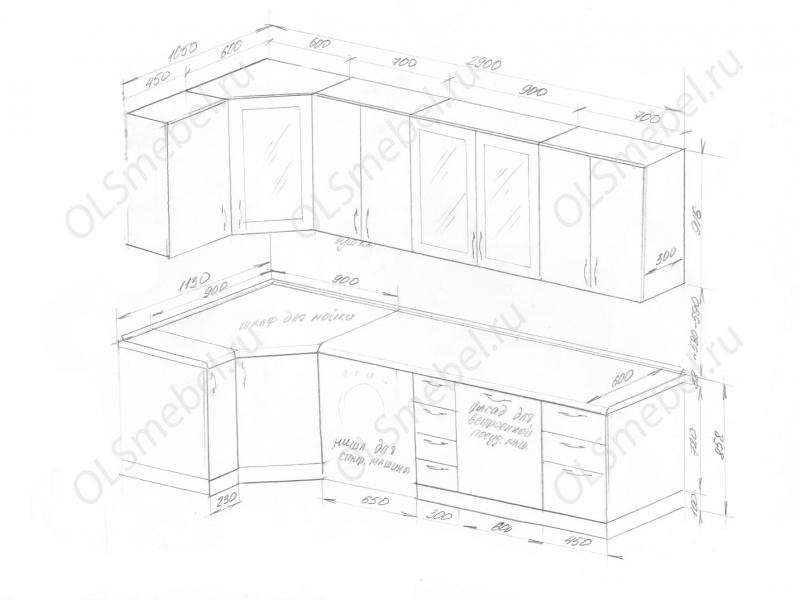 Кухня 1050/2900мм для кухни с воздуховодом