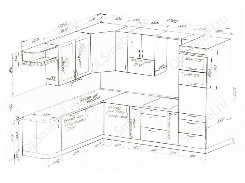 Кухня 1900/2900 с гнутым фасадом слева