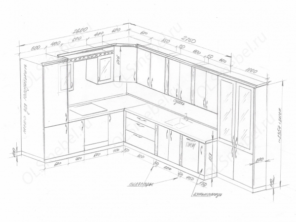 Кухня 2600/3750мм с буфетом