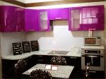 кухня МДФ ПВХ глянец, цвет виолета/чёрный