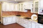 кухня МДФ с патиной Тиара №70 слоновая кость, патина золото