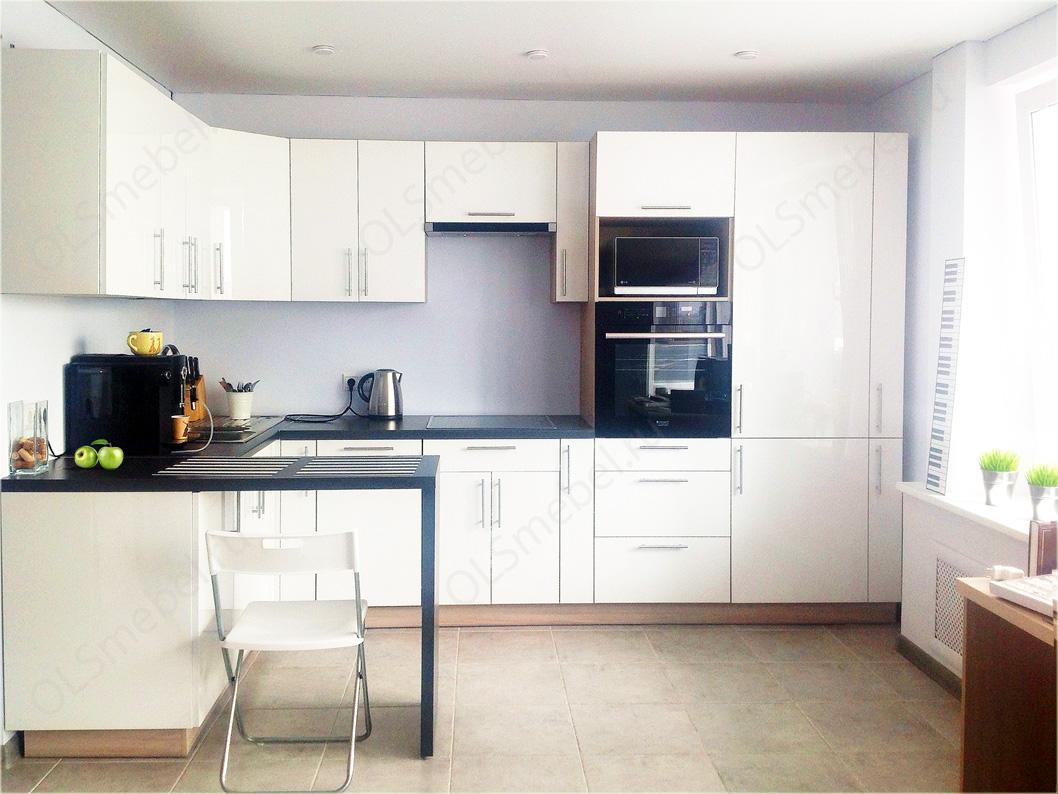 Заказать белую кухню эмаль высокий глянец